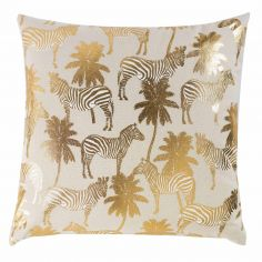 Zambie 100% Cotton Gold Printed Cushion