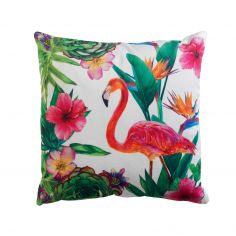 Tobago Flamingo Velvet Cushion - White