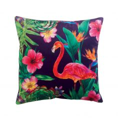 Tobago Flamingo Velvet Cushion - Black