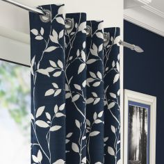 Laural Floral Voile Eyelet Curtain Panel - Blue