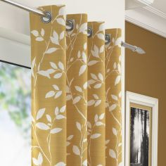 Laural Floral Voile Eyelet Curtain Panel - Ochre Yellow