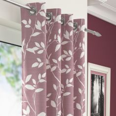 Laural Floral Voile Eyelet Curtain Panel - Blush Pink