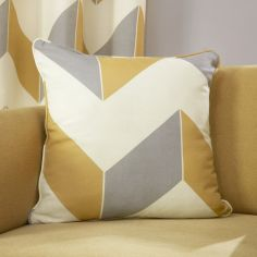 Zig Zag Chevron Print Cushion Cover - Ochre Yellow Grey