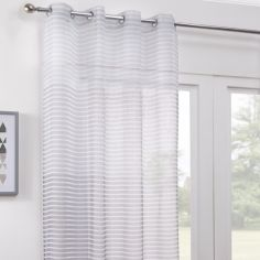 Barbados Ombre Stripe Eyelet Voile Curtain Panel - Grey