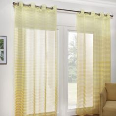 Pair of Barbados Ombre Stripe Eyelet Voile Curtain Panels - Ochre Yellow