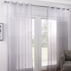 Pair of Barbados Ombre Stripe Eyelet Voile Curtain Panels - Grey