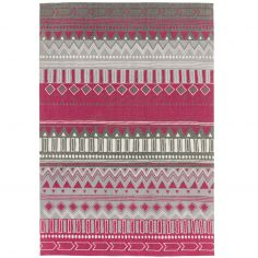 Onix Tribal Printed Mix Rug - Berry Pink