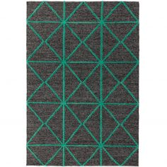 Prism Contrasting Geometric Pattern Rug - Green
