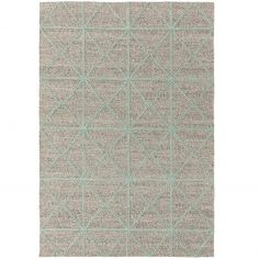 Prism Contrasting Geometric Pattern Rug - Mint Blue