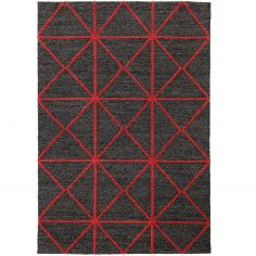 Prism Contrasting Geometric Pattern Rug - Red
