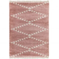 Rocco Berber Style Shaggy Fringe Rug - Pink
