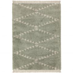 Rocco Berber Style Shaggy Fringe Rug - Green