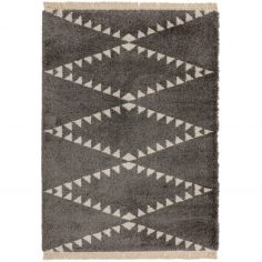Rocco Berber Style Shaggy Fringe Rug - Charcoal Grey