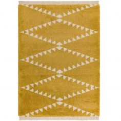 Rocco Berber Style Shaggy Fringe Rug - Mustard Yellow