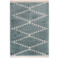 Rocco Berber Style Shaggy Fringe Rug - Blue