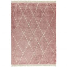 Rocco Berber Style Diamond Shaggy Fringe Rug - Pink