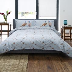 Pheasant Duvet Cover Set - Blue