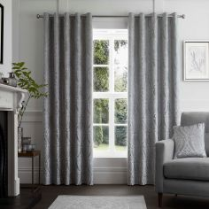Chateau Damask Fully Lined Eyelet Curtains - Silver Grey