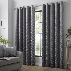 Kendal Geometric Fully Lined Eyelet Curtains - Charcoal Grey