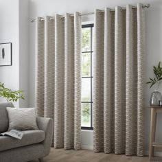 Kendal Geometric Fully Lined Eyelet Curtains - Natural