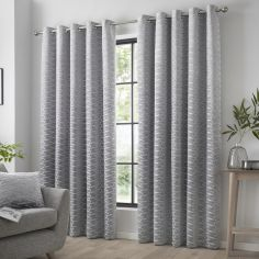 Kendal Geometric Fully Lined Eyelet Curtains - Silver Grey