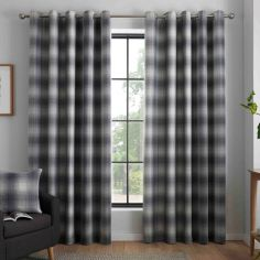 Lincoln Check Fully Lined Eyelet Curtains - Grey