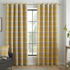 Lincoln Check Fully Lined Eyelet Curtains - Ochre Yellow