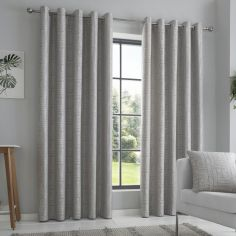 Lowe Textured Striped Fully Lined Eyelet Curtains - Charcoal Grey