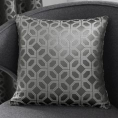 Oriental Squares Geometric Cushion Cover - Charcoal Grey