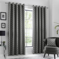 Oriental Squares Geometric Fully Lined Eyelet Curtains - Charcoal Grey
