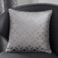 Oriental Squares Geometric Cushion Cover - Silver Grey