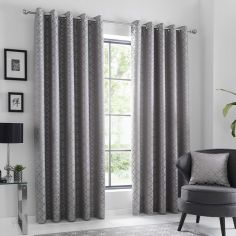 Oriental Squares Geometric Fully Lined Eyelet Curtains - Silver Grey