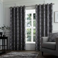 Romolo Floral Fully Lined Eyelet Curtains - Charcoal Grey