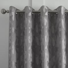 Romolo Floral Fully Lined Eyelet Curtains - Silver Grey