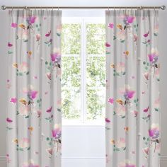 Jessica Floral Fully Lined Tape Top Curtains - Pink