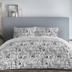 Zebra Reversible Duvet Cover Set - Charcoal Grey