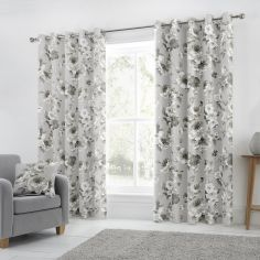 Charity Floral 100% Cotton Fully Lined Eyelet Curtains - Grey
