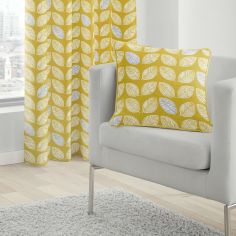 Delft Scandi Leaves 100% Cotton Cushion Cover - Ochre Yellow