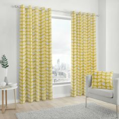 Delft Scandi Leaves 100% Cotton Fully Lined Eyelet Curtains - Ochre Yellow