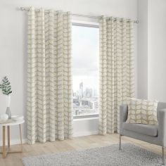 Delft Scandi Leaves 100% Cotton Fully Lined Eyelet Curtains - Natural