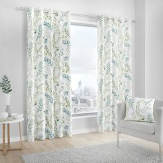 Fernworthy 100% Cotton Fully Lined Eyelet Curtains - Green