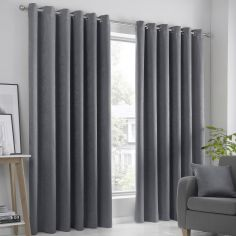 Strata Plain Textured Blockout Eyelet Curtains - Charcoal Grey