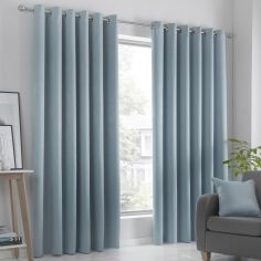 Strata Plain Textured Blockout Eyelet Curtains - Duck Egg Blue
