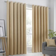 Strata Plain Textured Blockout Eyelet Curtains - Ochre Yellow