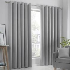 Strata Plain Textured Blockout Eyelet Curtains - Silver Grey