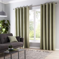 Sorbonne 100% Cotton Fully Lined Eyelet Curtains - Green
