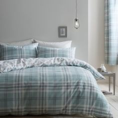 Catherine Lansfield Kelso Check Duvet Cover Set - Mint Blue