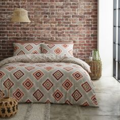 Catherine Lansfield Aztec Geometric Duvet Cover Set - Spice Red