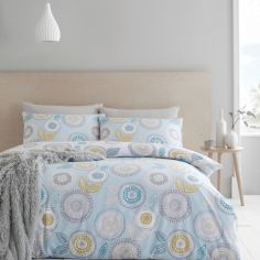 Catherine Lansfield Anja Floral Duvet Cover Set - Duck Egg Blue