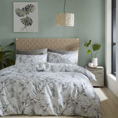 Catherine Lansfield Montego Leaf Duvet Cover Set - Grey